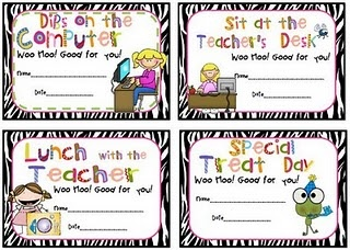 behavior coupons for the classroom...too cute!