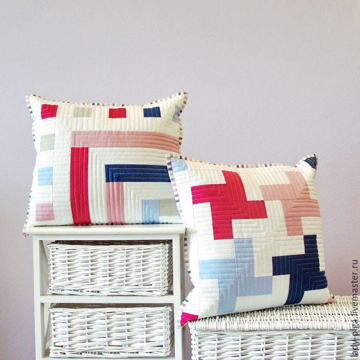 Modern patchwork pillows idea # modern #pillows #cushions #idea #white #blue #лоскутные #идея #подушки Актуальные лоскутные стеганые подушки наволочки подарок в детскую - белый, синий, лоскутный