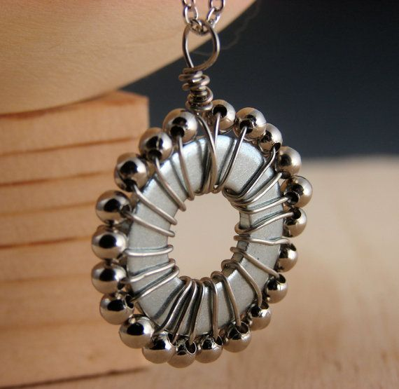 Beaded Pendant Necklace Wire Wrapped Hardware Jewelry Industrial Eco Friendly