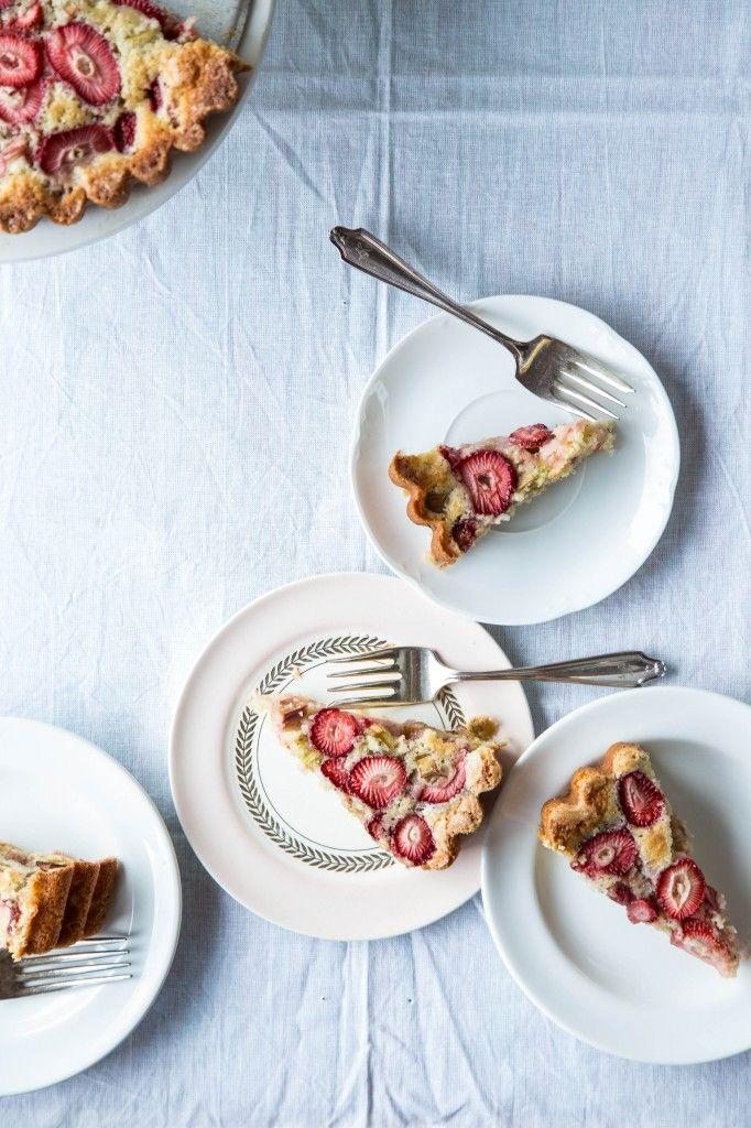 Strawberry Rhubarb Cardamom Cake