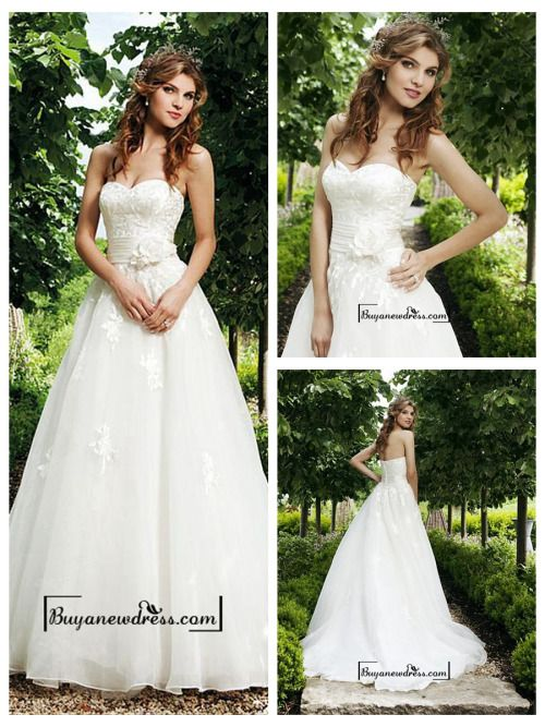 Attractive Organza Satin A-line Sweetheart Raised Waist Wedding Dress