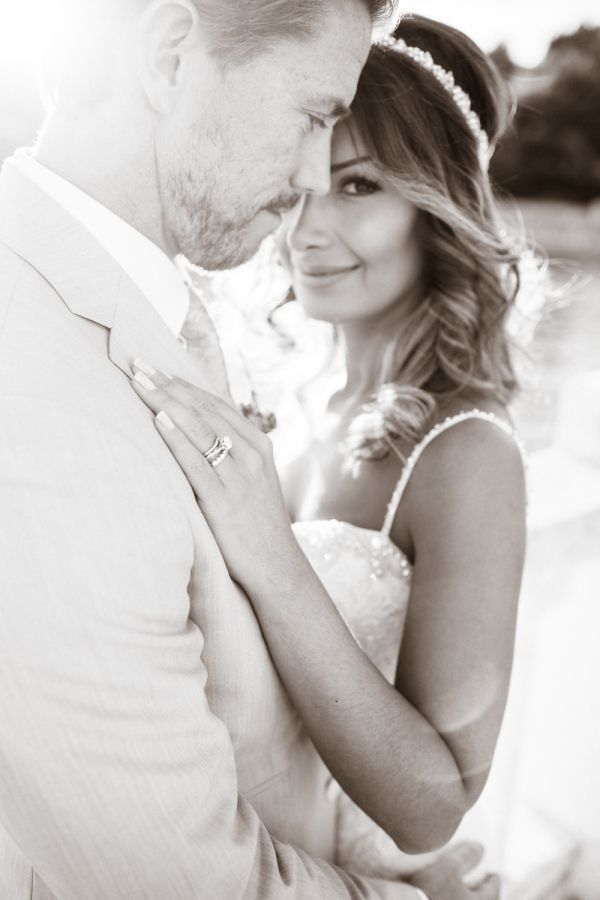 Classic black and white bride + groom portrait: http://www.stylemepretty.com/destination-weddings/2015/11/05/dreamy-peach-destination-wedding-at-hvar-in-croatia/ | Photography: Kristina Malmqvist- http://www.kristinamalmqvist.com/