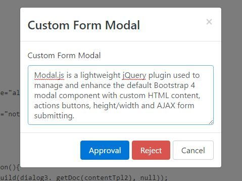 Modal.js is a #jQuery plugin used to manage and enhance the default #Bootstrap 4 #modal component with custom HTML content, actions buttons, height/width and AJAX form submitting.
