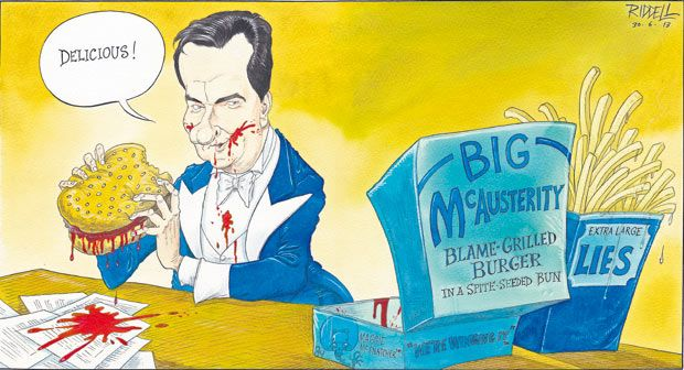 30 June 2013 - Chris Riddell on the spending review, again referencing the Twitter photo of Osborne eating a burger the night before the CSR.