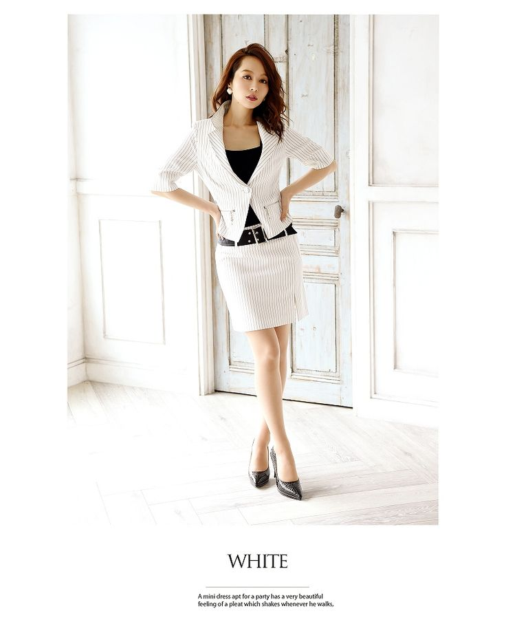 【BelsiaLux】ストライプ柄五分袖キャバスーツ フォーマルスーツ/ビジネススーツにも【ベルシアリュクス】(S/M/L/XL)(ブラック/ホワイト),式スーツ 女性 フォーマル - RYUYU