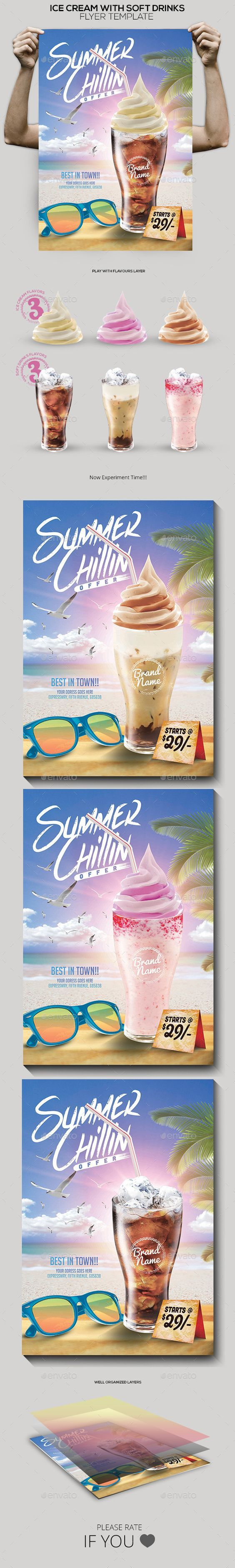 Ice Cream with Soft Drink Offer Poster Template #design Download: http://graphicriver.net/item/ice-cream-with-soft-drink-offer-poster/12262757?ref=ksioks: