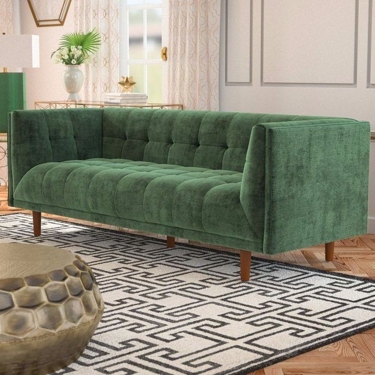 BEST PRICING  FREE SHIPPING  HIGH QUALITY  Velvet Chesterfield Sofa Luxury Modern Vintage Green Elegant Living Room Tufted  DETAILS  This green velvet chesterfield sofa, will make a statement in your living room space when you anchor your ensem...