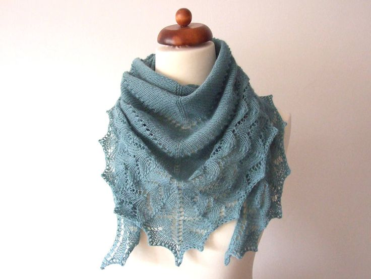 New: light but warm scarf in greyish green http://etsy.me/2j1EFtE #accessories #scarf #green #handknit #laceshawl #giftforher #wool #simplicityshawl