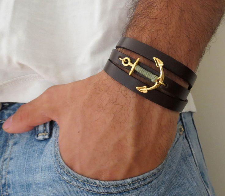 Alen Gold Men's Bracelet - Men Anchor Bracelet - Men Leather Bracelet - Men's…