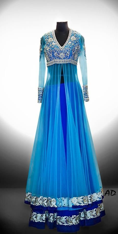 Net jacket style Lehenga with silver zircon work. Available in different colors.
