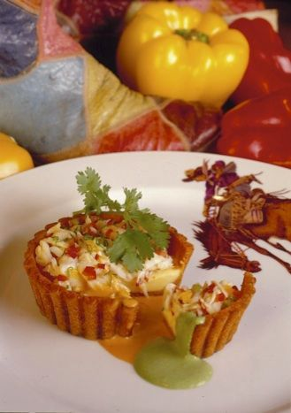 Tamale Tart with Roasted Garlic Custard and Crab Meat by Stephan Pyles