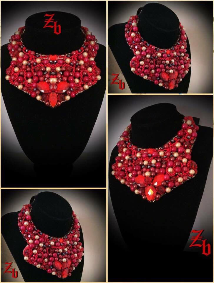 Red&crystals&pearls z'ett bijou statement necklace