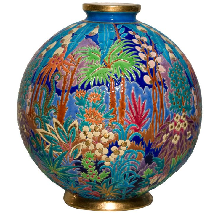 "French Art Deco ""Jungle Series"" ceramic vase by Maurice Paul Chevallier for Faïences de Longwy, French, ca. 1925"