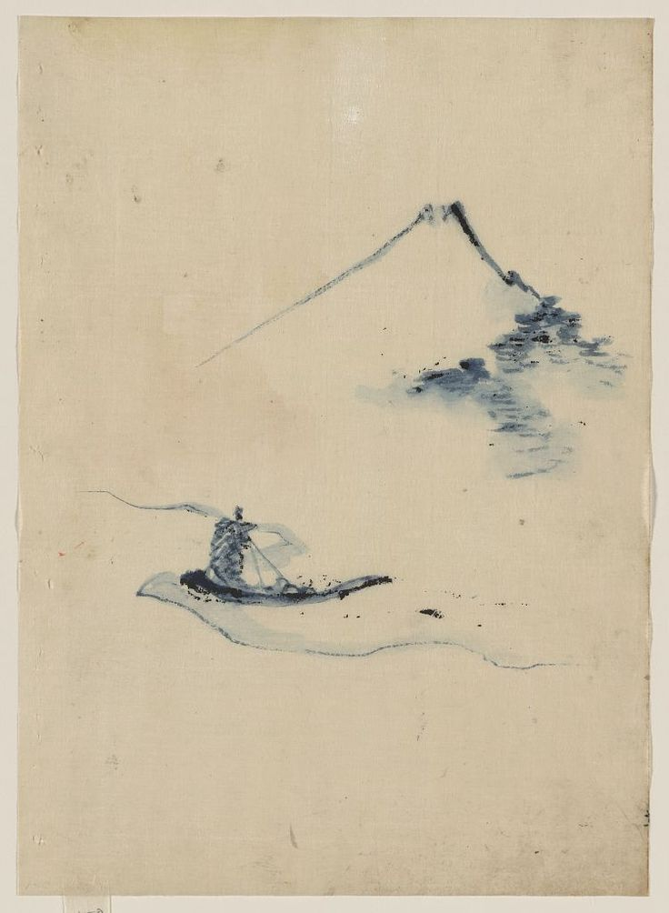 Katsushika Hokusai (1760-1849). A person in a small boat on a river with Mount Fuji in the background, between 1830 and 1850