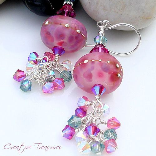 WOODLAND BERRIES - Handmade Lampwork Earrings with Swarovski Crystals and Sterling Silver