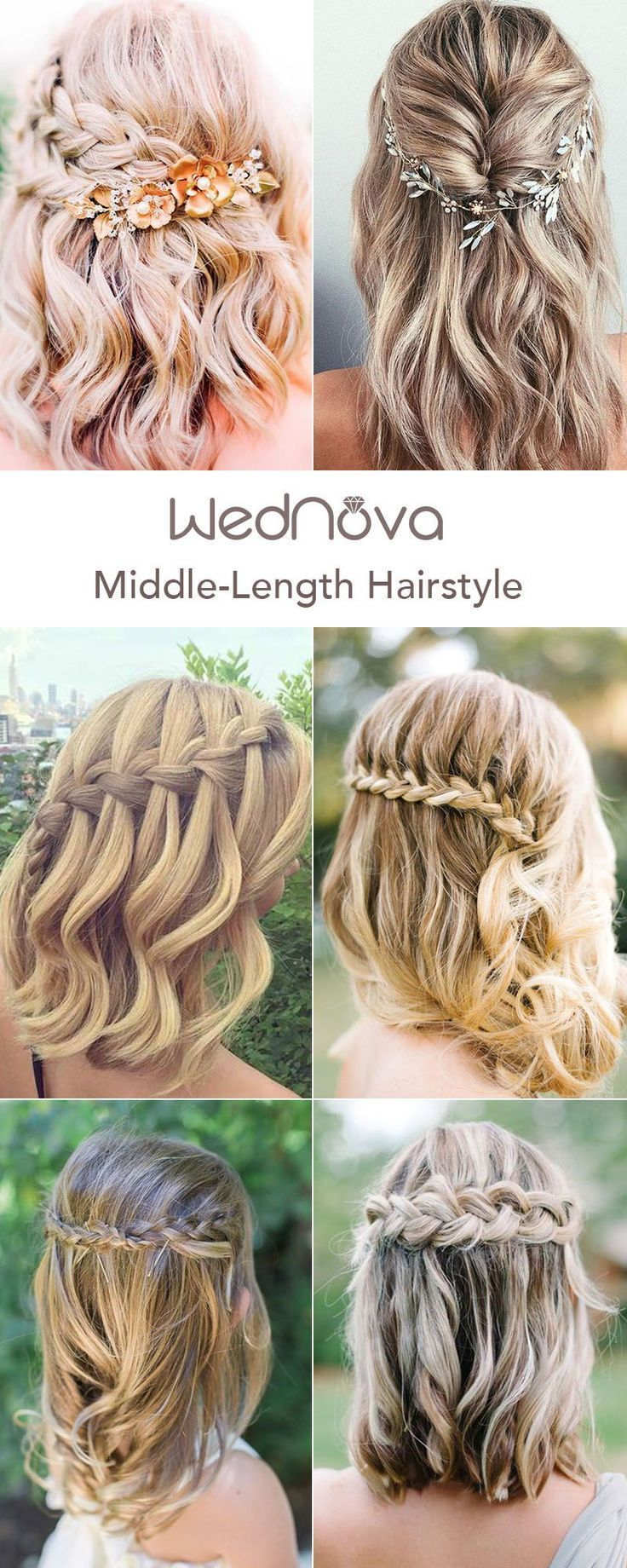 48 Easy Wedding Hairstyles Best Guide For Your Bridesmaids In 2019 Hairstyles Short Wedding Hair Half Up Half Down Short Hair Bridesmaid Hair Medium Length