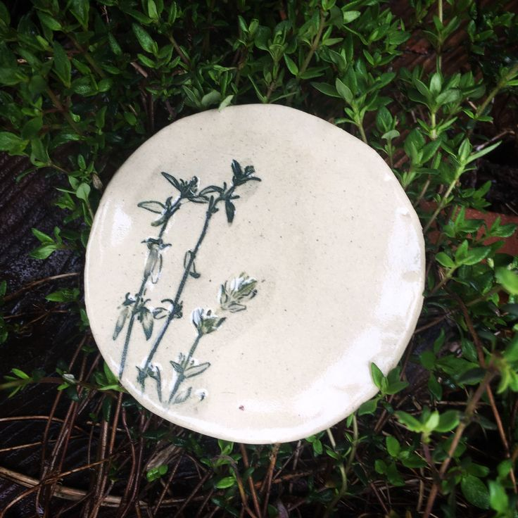 Fridge Magnet. Ceramic Magnet. Thyme Magnet. Stoneware Magnet. Gift for Cook. Herb Garden. Gardene's Gift. Herb Magnet. Earthenware Clay. by FaeGartenClay on Etsy