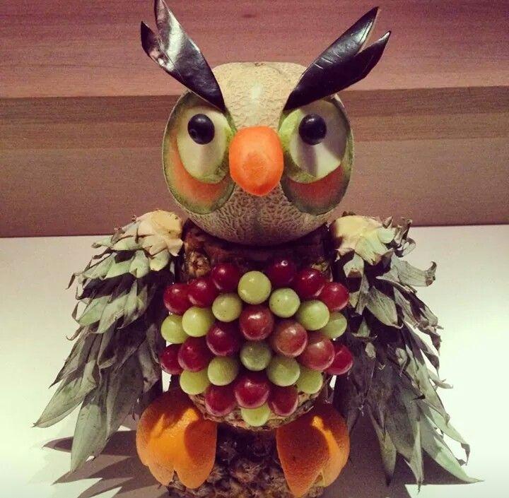 Fun food, children's food, healthy, owl, pineapple, grapes