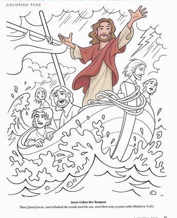 Matthew 8:23-27; Mark 4:35-41; Luke 8:22-25; Jesus Has Power Over Creation; Jesus Calms the Storm Coloring Page