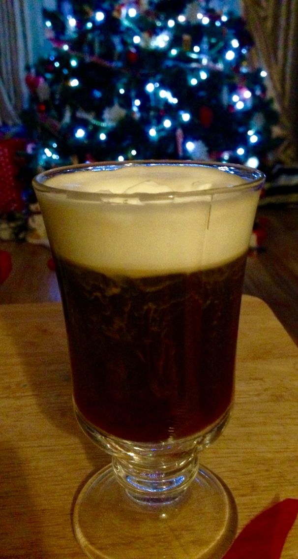 Irish coffee! Black coffee, sugar, Jameson whiskey and whipped cream - the perfect Christmas drink!