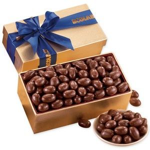 Chocolate Covered Almonds in Gold Gift Box