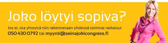 Pyydä tarjous, soita tai meilaa!  myynti@seinajokicongress.fi  +358 50 4300 792