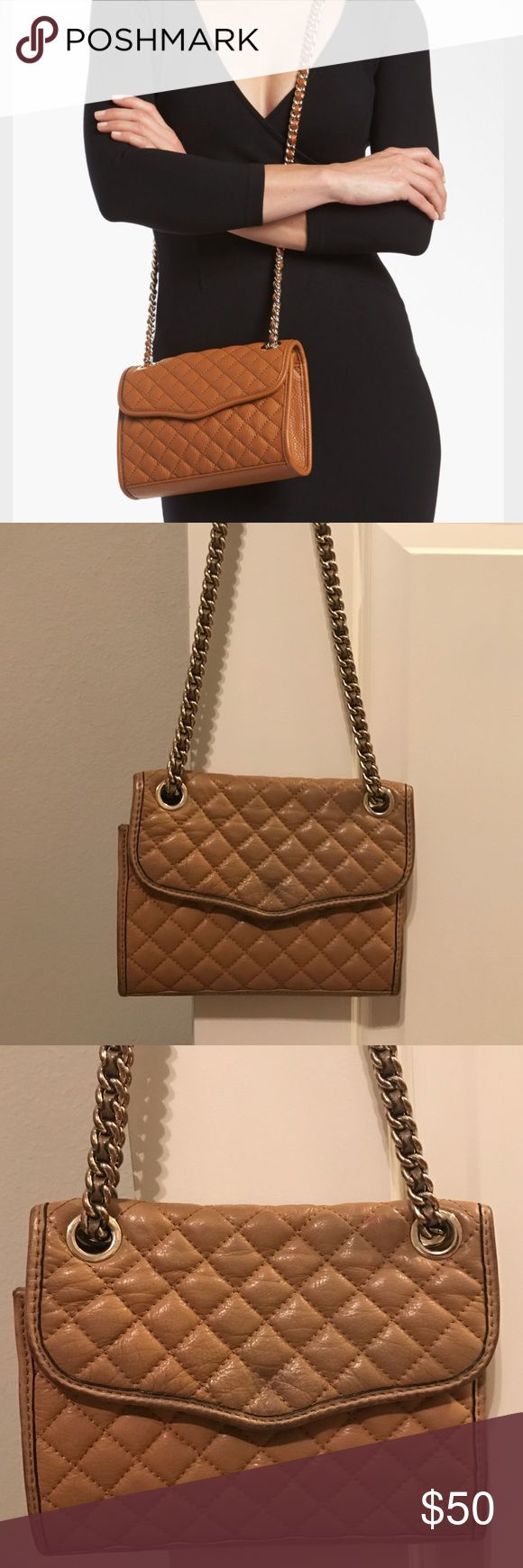 Rebecca Minkoff tan quilted mini affair purse Rebecca Minkoff tan quilted mini affair purse. Some discoloring and wear- visible in picture Rebecca Minkoff Bags Crossbody Bags