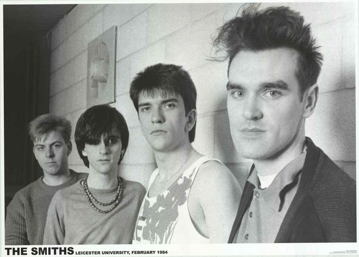 The Smiths backstage at University of Leicester, Leicester, England on February 16, 1984 ― via BananaRoad Posters.