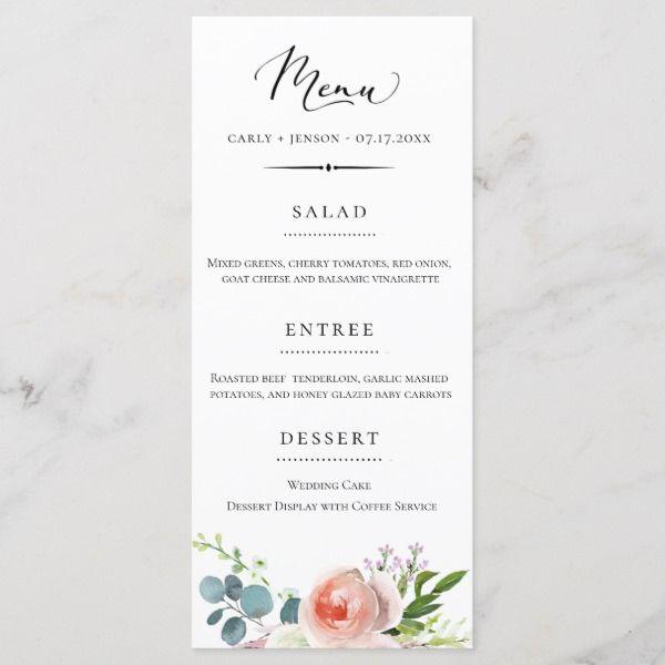 Elegant Garden Floral Wedding Menu Zazzle Com In 2020 Wedding