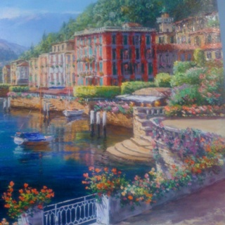 Lake Como, Italy. From original S. Sam Park oil painting.