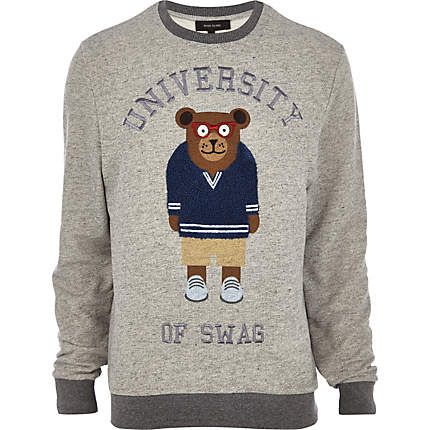 Grey university bear sweatshirt £28.00