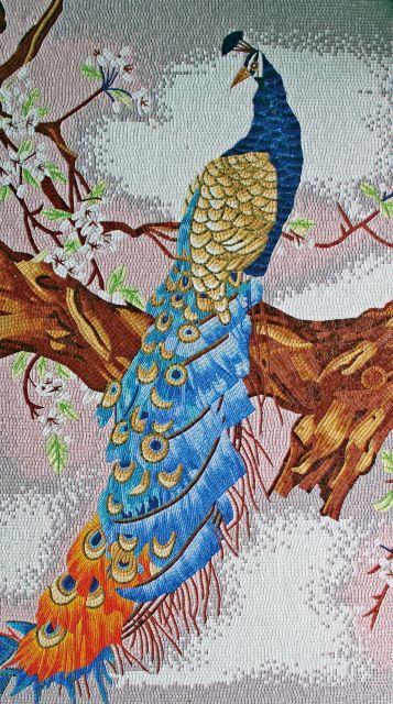 Лед оникс симфония зеркало стеклянная мозаика павлин животных головоломки современного искусства картина маслом фон стены