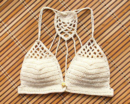 Crochet Bikini Top Lace crochet bikini bra Yoga crochet by MarryG