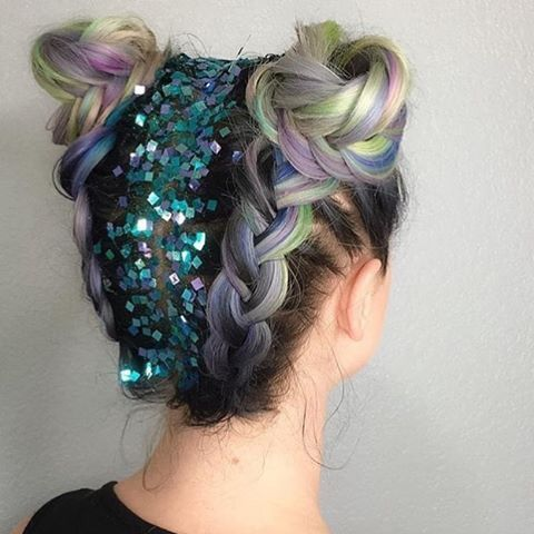 Beautiful holographic braided Space buns, with glitter root, This is everything…