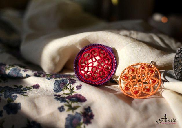 """Rozeta mała """"Pomarańcz i kwarc wiśniowy"""" - Arato - Kolczyki koła"""