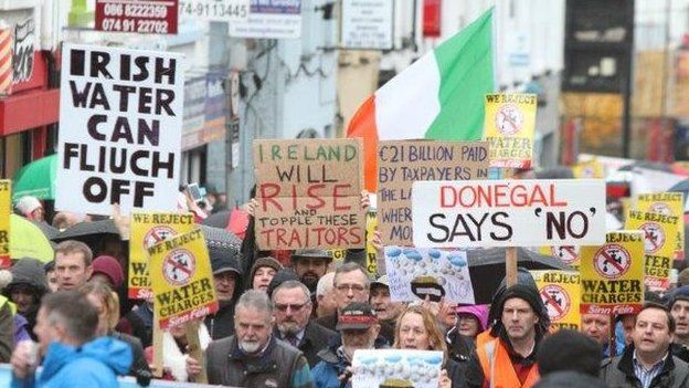 Water charges: Almost 100 protests across Republic of Ireland...It was one of the largest ever mass protests over Irish government policy.