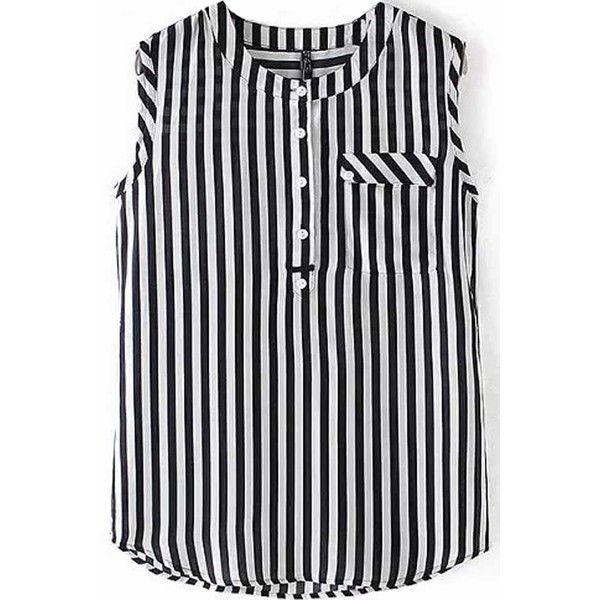 Black White Vertical Stripes Front Pocket Chiffon Blouse ($25) ❤ liked on Polyvore featuring tops, blouses, tank tops, button up blouse, chiffon button up blouse, button down blouse, sleeveless button up blouse and sleeveless tops