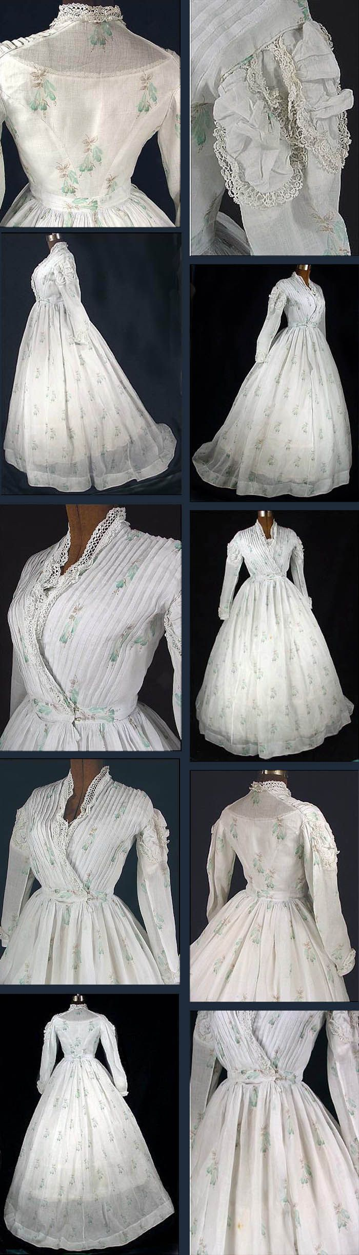 Summer dress ca. 1867. Sheer white cotton voile printed with light aqua and brown fuchsias and trimmed with linen bobbin lace. Bodice lined in white linen; separate modesty insert. Skirt has deep side pocket and small watch pocket at waist. Antique Dress via web.archive.org