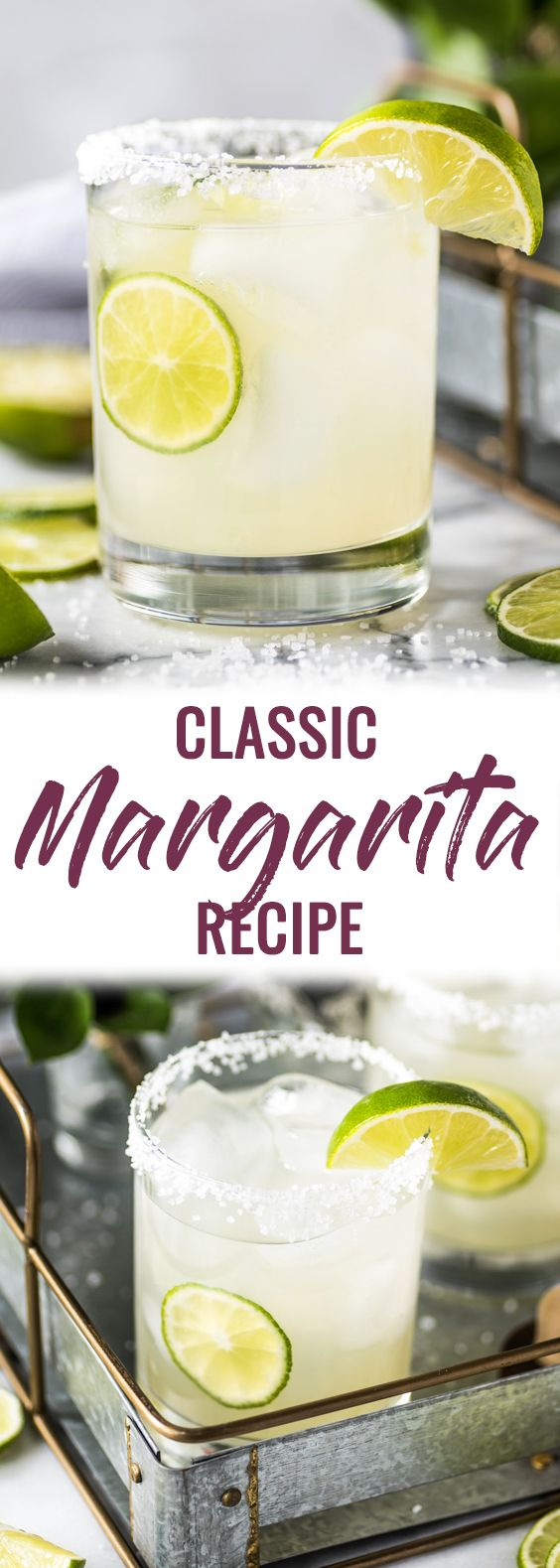 This Classic Margarita Recipe is perfectly balanced with tequila, triple sec and lime juice for a crisp and refreshing cocktail. No margarita mix required! #margarita #cocktail #tequila #mexican | gluten free cocktail | paleo cocktail | on the rocks | skinny margarita | top shelf