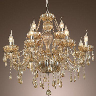 12-lys stil palads glas lysekrone med stearinlys pære – DKK kr. 1.818