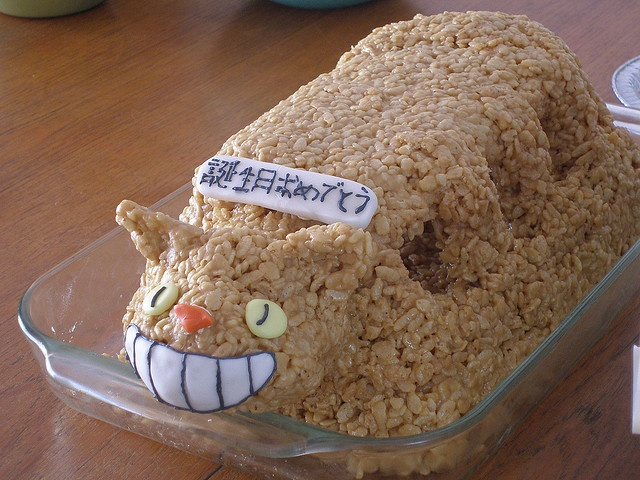 Cat bus rice crispy for totoro party -- instead of cake, perhaps?