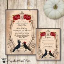 Хэллоуин свадебные приглашения, свадебные гот Приглашение, Crow свадебные приглашения, Raven свадебные приглашения, печати и свадьбы Приглашение RSVP