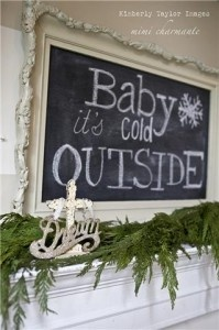 #fireplaceHoliday, Decor Ideas, Winter, Chalkboards Painting, Seasons, Chalk Boards, Old Frames, Christmas Decor, Mantles