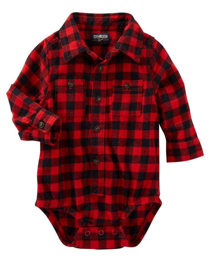 Buffalo Check Button-Front Bodysuit
