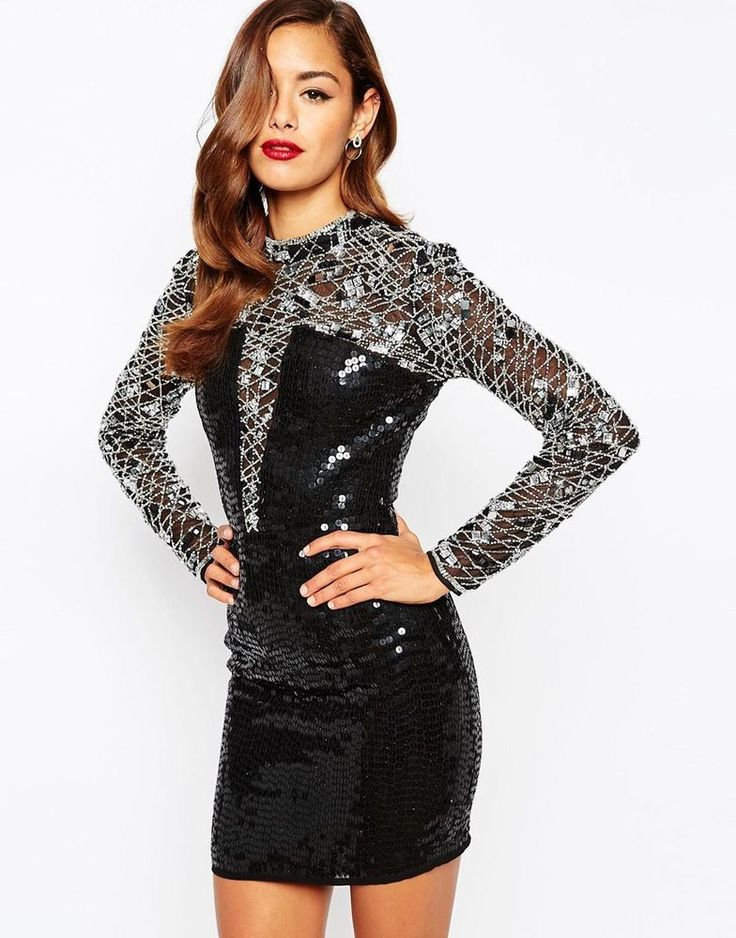 ASOS RED CARPET High Neck Embellished Bodycon Dress UK 10/EU 38/US 6