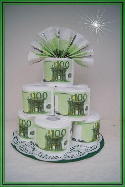 Toilettenpapier Torte Geldtorte 100 Euro Serviette