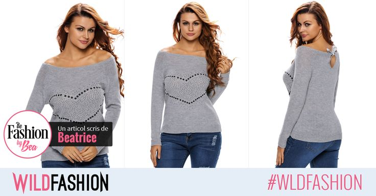 Poarta aceasta bluza cu strasuri in forma de inima pentru un look ravasitor de cool iarna aceasta...
