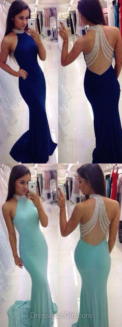 Trumpet/Mermaid High Neck Silk-like Satin Sweep Train Beading Royal Blue Prom Dresses