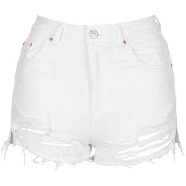 TopShop Moto White Rip Mom Short ($44) ❤ liked on Polyvore featuring shorts, white, short shorts, distressed denim shorts, white cotton shorts, high-waisted denim shorts and white jean shorts