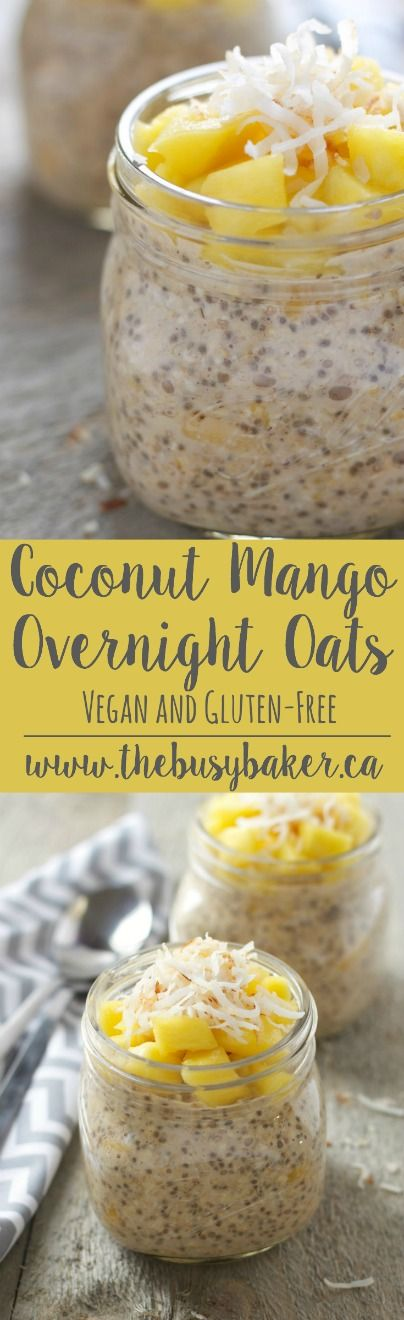 Coconut Mango Overnight Oats recipe from www.thebusybaker.ca An easy, healthy Easter-inspired breakfast!